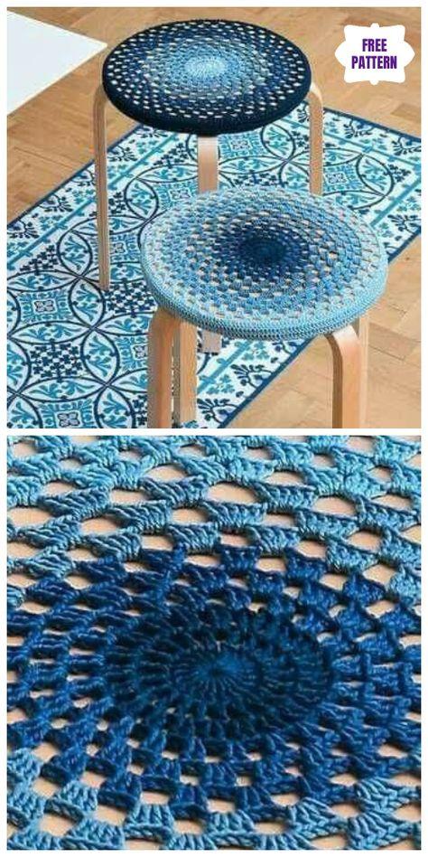 Granny Stitch Mandala Stool Cover Free Crochet Pattern - DIY Magazine