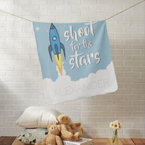 Shoot for the Stars Personalized Blue Rocket Ship Stroller Blanket | Zazzle.com