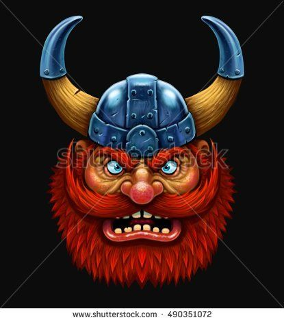 Cartoon Viking Head With Red Beard In Helmet With Horns Funny Cartoon Character Buy This Illustration On Shut Viking Head Red Beard Funny Cartoon Characters