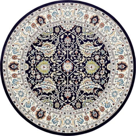 Tabriz Navy Blue 10 Ft X 10 Ft Round Area Rug Area Rugs Round