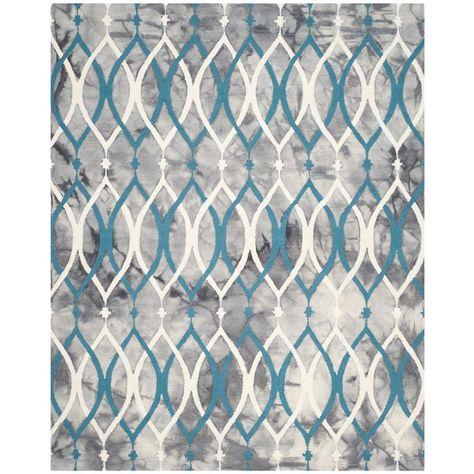 Safavieh Dip Dye Gray/Ivory Blue 9 ft. x 12 ft. Area Rug