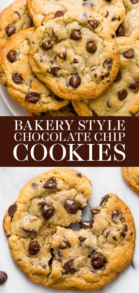 Cookie Recipes 375980268894571527 - Ultra thick Bakery Style Chocolate Chip Cookies feature golden brown edges with soft and chewy centers. This easy homemade, from-scratch recipe can be made in 30 minutes! The BEST cookie I have ever tried. Easy Cookie Recipes, Sweet Recipes, Dessert Recipes, Recipe For Cookies, Easy Homemade Cookies, Soft Cookie Recipe, Cookies From Scratch, Tasty Cookies, Easy Homemade Recipes