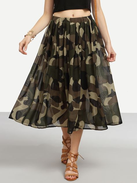 SheIn offers Olive Green Camo Print Chiffon Skirt & more to fit your fashionable needs.