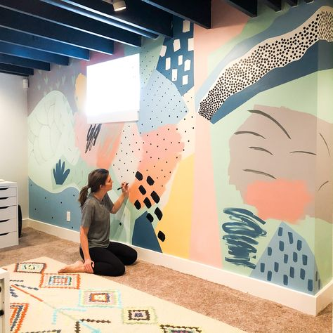 The playroom mural is dunzooo! 👊🏼 I doubted myself in the beginning but I'm so glad I pushed through and kept going! This mural is exactly… Playroom Mural, Kids Room Murals, Mural Wall Art, Playroom Design, Painting Murals On Walls, Playroom Paint, Kid Playroom, Kids Room Paint, Playroom Organization
