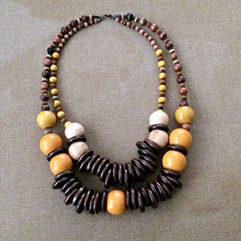 Big Wooden Beaded Necklace Brown Orange Beige by VelvetOrchestra