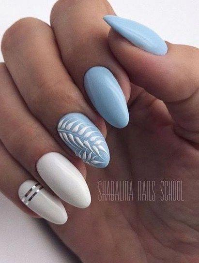 45 Super Ideas For Nails White Blue Art Designs Nails Bluenail Short Acrylic Nails Pretty Acrylic Nails Nails