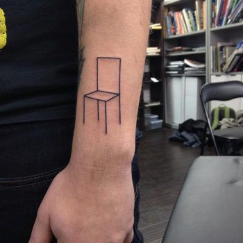 Linear Minimalist Chair Tattoo Outer Forearm Tattoo Tattoos Forearm Tattoos
