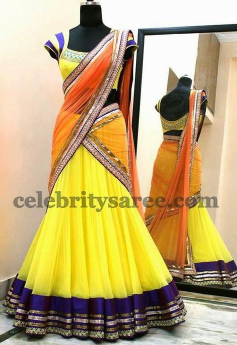 Lemon Yellow Classic Chic Half Saree   Saree Blouse Patterns