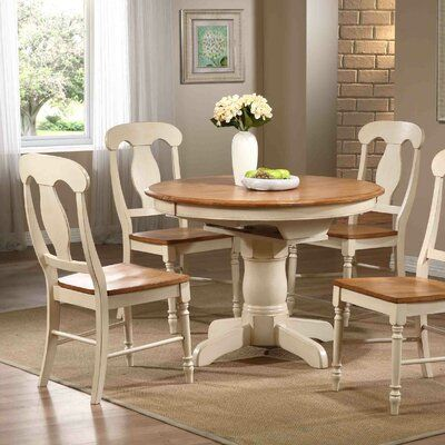 August Grove Kinsman 5 Piece Extendable Solid Wood Dining Set Wayfair In 2020 Solid Wood Dining Table Solid Wood Dining Set Dining Table