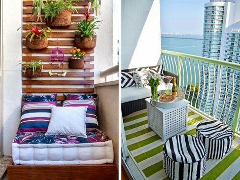 Schmalen balkon gestalten  balkon ideen schmal musterteppich musterhocker flehtsitzbank ...