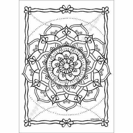 Nine Point Mandala Coloring Card By Lydia Hess Mandala Coloring
