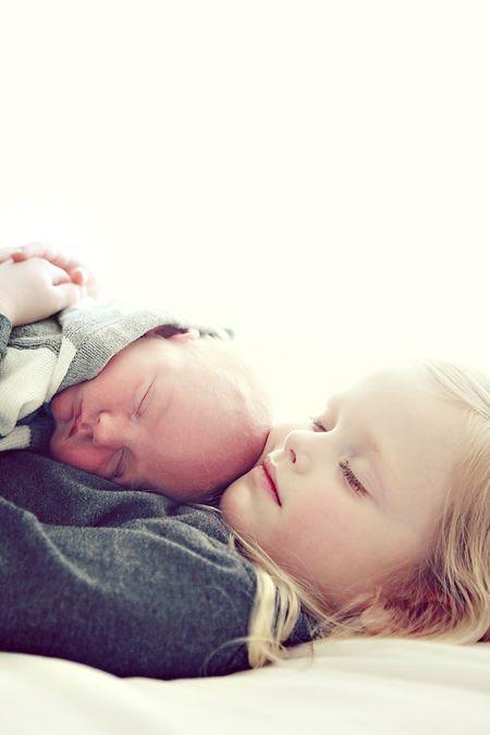 cute sibling photo - new born