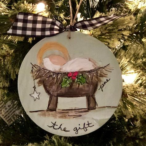 Nativity Ornaments, Painted Christmas Ornaments, Christmas Canvas, Nativity Crafts, Christmas Room, Wooden Ornaments, Hand Painted Ornaments, Christmas Paintings, Christmas Nativity