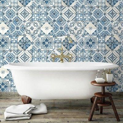 Roommates Mediterranian Tile Peel Stick Wallpaper Blue Mediterranean Mosaic Tile Mediterranean Tile Mediterranean Home Decor