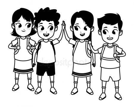 Childhood Cute School Students Cartoon In Black And White Stock Vector Sponsored School Students Childhood Student Cartoon Cartoons Vector Cartoon