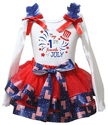 Petitebelle Proud British Heart White Shirt Red Petal Skirt Set Nb-8y