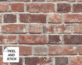 Self Adhesive Wallpaper Brick Wallpaper Peel And Stick Etsy Removable Brick Wallpaper Brick Wallpaper Peel And Stick Wallpaper