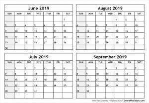 Printable June July August September 2019 Calendar Printable Calendar Templates Blank Holidays June Calendar Printable Calendar Template Calendar Printables