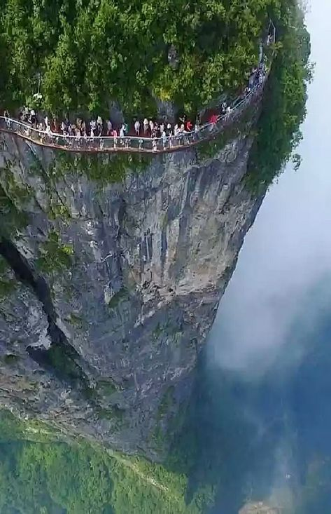 Coiling Dragon Cliff Skywalk, Tianmen Mountain, Tianmen Mountain National Park, Zhangjiajie, in the northwestern part of Hunan Province, China. Location: above the 99 Bends, about 600m from the top of the cableway. Altitude: 1,400 meters (4,600 feet). Dimensions: 100 meters (328 feet) long, 1.6 meter (5 feet) wide.