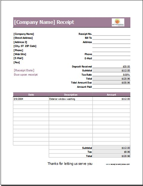 Wedding Services Receipt Template DOWNLOAD at http\/\/wwwreceipts - company receipt