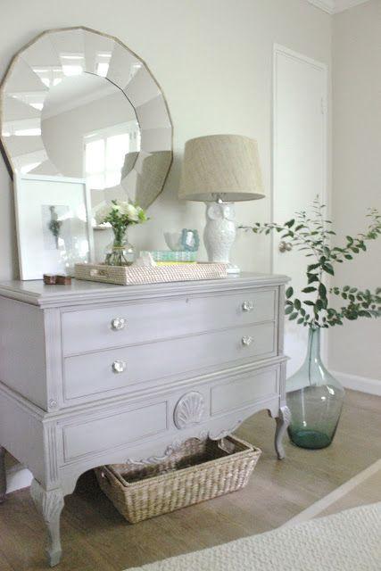 BEDROOM MAKEOVER. gray dresser