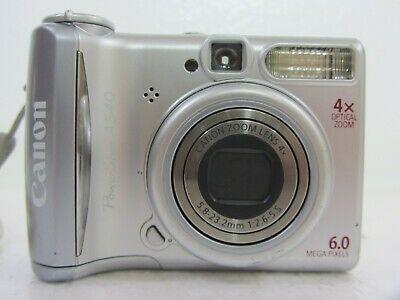 Canon Powershot A540 6 0mp Digital Camera Silver Digital Camera Camera Powershot