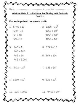 Envision Math 5th Grade Topic 6 6 1 Patterns For Dividing With Decimals Envision Math Math Decimal Lesson