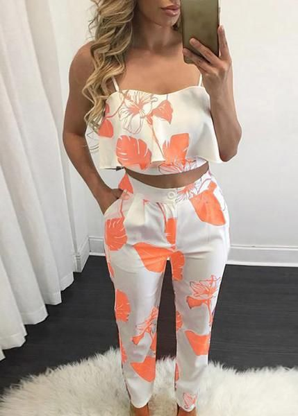 Women Sleeveless Shirt Floral Print Top Blouse Long Pants Two-Piece Outfit  R