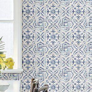 Mistana Alexis Spanish Tile 33 L X 20 5 W Geometric Wallpaper Roll Geometric Wallpaper Wallpaper Roll Wood Wallpaper