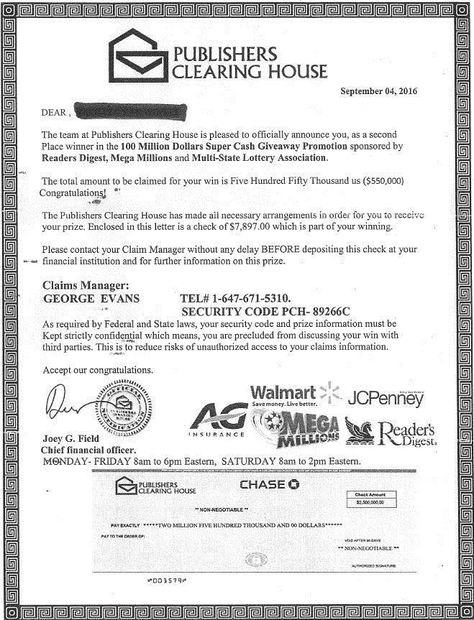 letter PCH SCAM AWARENESS Pinterest Publisher clearing house - prize winner letter template