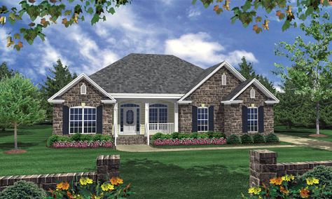 Dreams of easy living become reality in this endearing cottage home. Features including two raised bars, a sun room, rear porch, front porch, and a patio make it a great fit for adults and children alike. House Plan # 351097