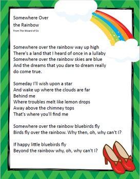 Somewhere Over The Rainbow Close Reading With Lyrics Wizard Of Oz Over The Rainbow Wizard Of Oz Wizard Of Oz Lyrics