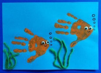 Fische Aus Handabdruck Fische Basteln Handabdrücke