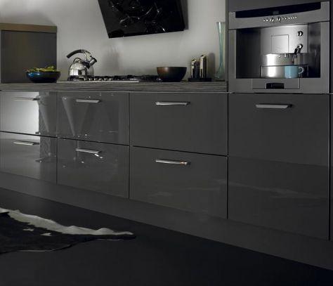 Zurfiz Metallic Anthracite High Gloss Acrylic Kitchen Doors In