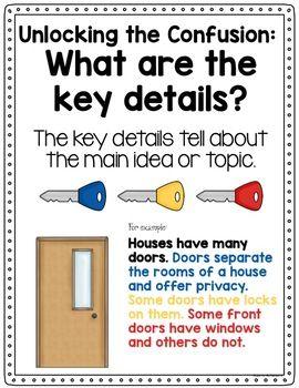 Main Idea And Detail Unlocking The Door To Key Details Main Idea Key Details Reading Strategies