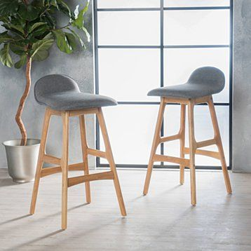 Tolle Mid Century Modern Upholstered Barstools Set Of 2 Bar