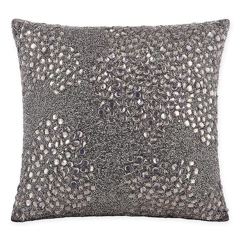 Mina Victory Luminescence Fully Beaded Pewter Throw Pillowby Nourison 10 Inch X 14 Inch Throw Pillows Pillows Modern Throw Pillows