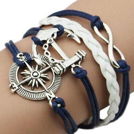 cool sailing style compass and anchor charm bracelet, fashion silver infinity bracelet