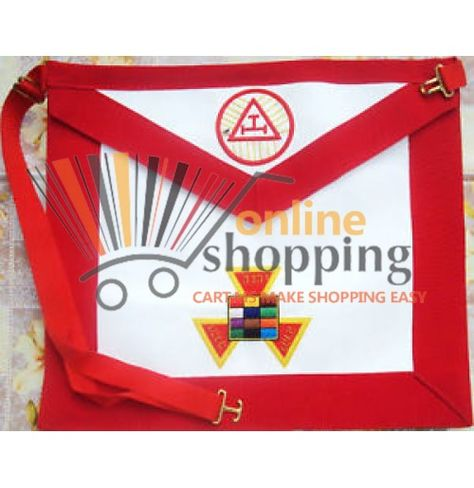 Master Mason Working tools Apron White and Red Threads Synthetic Heavy Leather