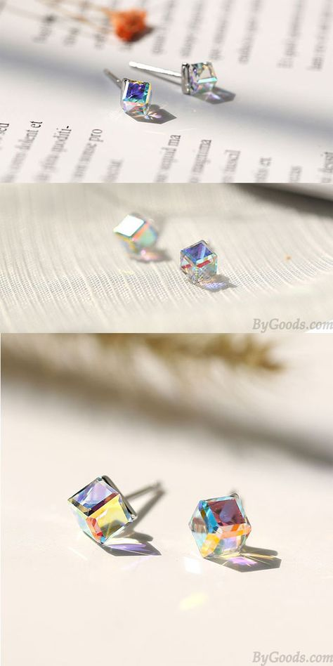 Lindo cristal Cuadrado Cubo de azucar Aretes de plata para mujer #earrings #studs