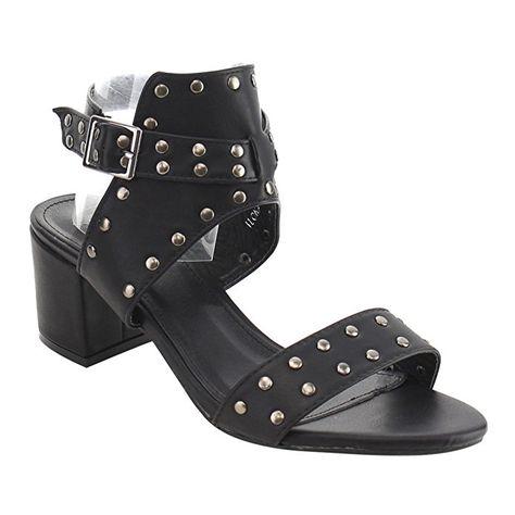 4e1489ad815f Beston FJ57 Women s Block Heel Studded Ankle Strap Sandals Half Size Small