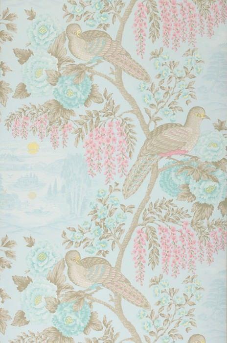 multicolor color rosa Papel pintado para pared de dormitorio con dise/ño de flores y mariposas tropicales Chinoiserie