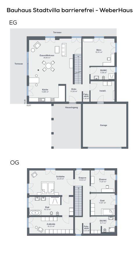 Grundriss Einfamilienhaus Barrierefrei Im Bauhausstil Mit