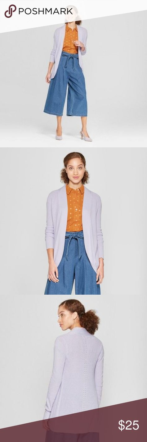 NEW Lavender Open Cocoon Cardigan Sweater NWT [H3] Channel comfy and effortless style in this Cocoon Cardigan from A New Day. This simple yet chic fitted cardigan has a draped collar with a long flowing cut. Invest in a timeless wardrobe staple that you can style whenever wherever throw this cardigan on over a skirt for a work outfit or pair it with a tee and cropped jeans for a casual look.   available in size XS | S new with tags S new without tags XS color: lavender purple designer: a new day