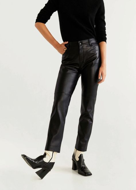 coated straight fit broek zwart