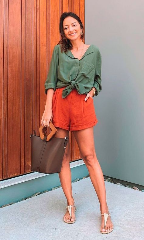 Oxfords Womens Outfits, Shorts Outfits Women, Casual Summer Outfits, Short Outfits, Short Dresses, Colourful Outfits, Colorful Fashion, Style Casual, Casual Looks