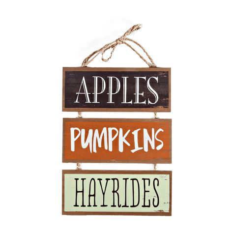 Way To Celebrate Fall Apples, Pumpkins, and Hayrides Sign - Walmart Finds - Fall-ready wall and door decoration with stylish wood-grain finish and scuffed white paint that adds to its rustic design. #walmarthome #falldecor #falldecorideas #fallwoodensign