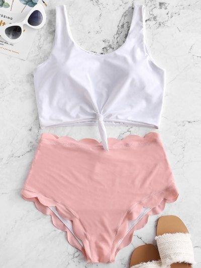 LOSHOW Baby Girls Swimsuit Cute Front Cross Halter Push up Bikini Set