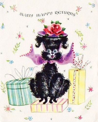 Vintage poodle birthday card posted by Redlandspoodles.com