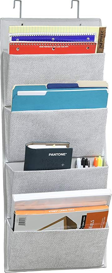 Amazon Com 4 Pockets Wall Mount Over Door Office Supplies File Document Organizer Office Supply Organization Documents Organization Work Space Organization